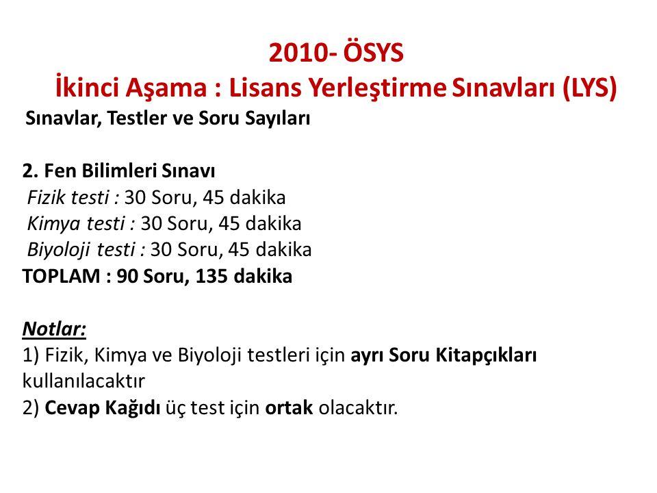 2010- ÖSYS İkinci Aşama : Lisans Yerleştirme Sınavları (LYS) Sınavlar, Testler ve Soru Sayıları 2.