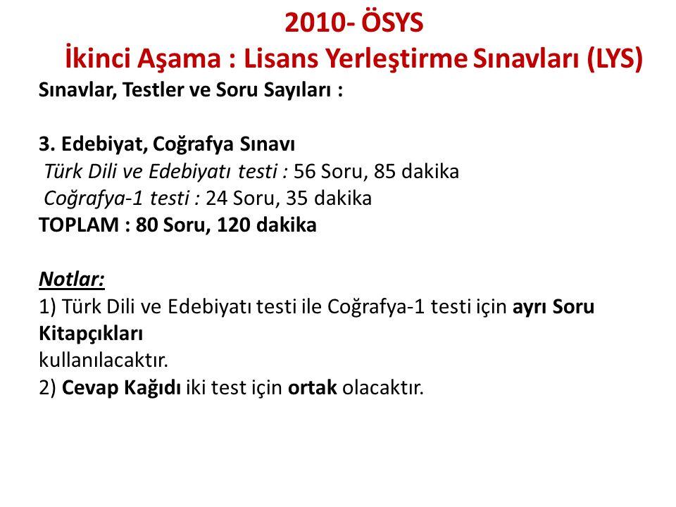 2010- ÖSYS İkinci Aşama : Lisans Yerleştirme Sınavları (LYS) Sınavlar, Testler ve Soru Sayıları : 3. Edebiyat, Coğrafya Sınavı Türk Dili ve Edebiyatı