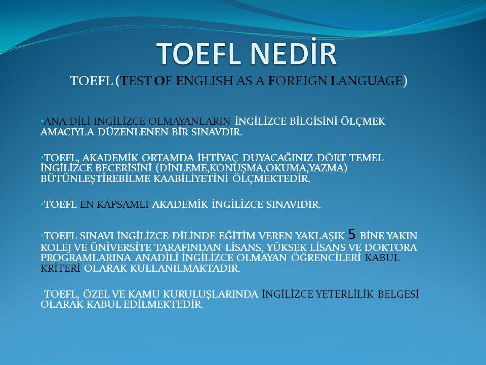 TOEFL (TEST OF ENGLISH AS A FOREIGN LANGUAGE) ANA DİLİ INGİLİZCE OLMAYANLARIN İNGİLİZCE BİLGİSİNİ ÖLÇMEK AMACIYLA DÜZENLENEN BİR SINAVDIR. TOEFL, AKAD