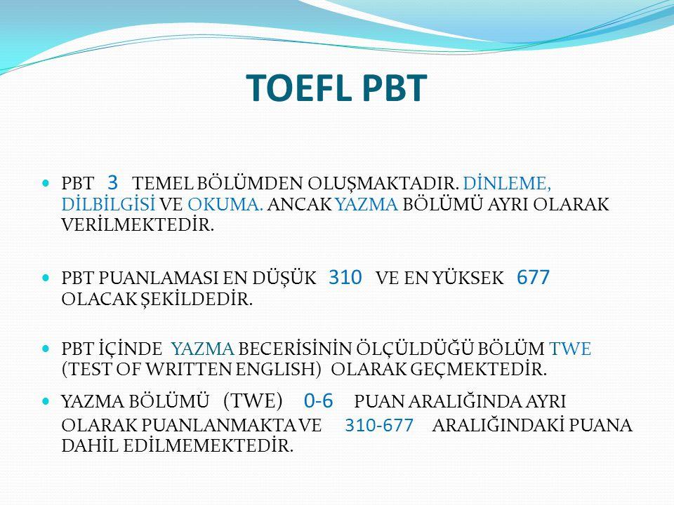 TOEFL PBT PBT SÜRESİ 3 SAATTİR (180 DAKİKA).SINAVIN BÜTÜN BÖLÜMLERİ AYNI GÜN ALINIR.