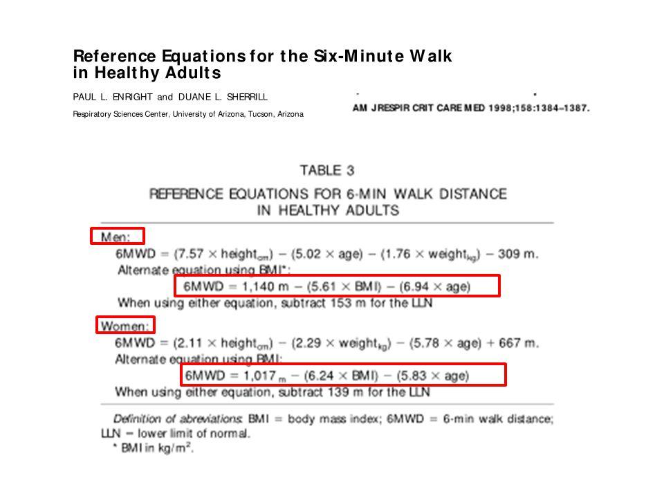6-Dakika Yürüme Testi Hesaplamaları Erkekler için ideal 6DYT mesafesi: 1140- (5.61xVKI)-(6.94x Yaş) =m Beklenen % 6DYT: İdeal mesafenin % değeri Normal düşük limit (LLN): ideal 6DYT mesafesi – 153= m Kadınlar için ideal 6DYT mesafesi: 1017- (6.24xVKI)-(5.83x Yaş) =m Beklenen % 6DYT: İdeal mesafenin % değeri Normal düşük limit (LLN): ideal 6DYT mesafesi – 139= m Yöntem-II