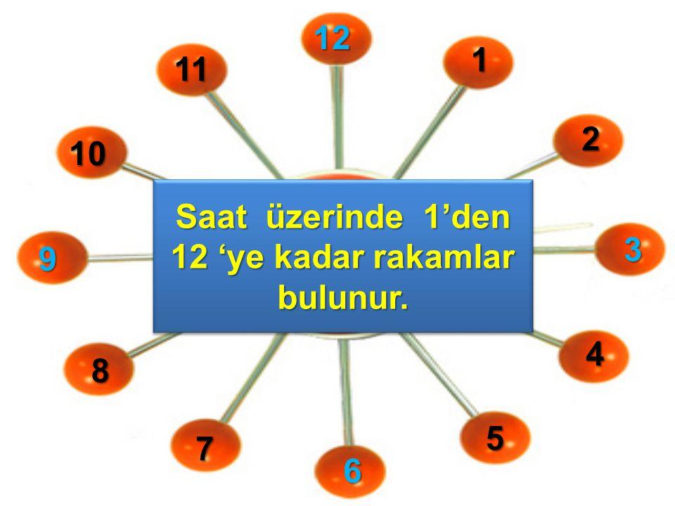 121 2 3 4 5 6 7 8 9 10 11 Saat üzerinde 1'den 12 'ye kadar rakamlar bulunur.