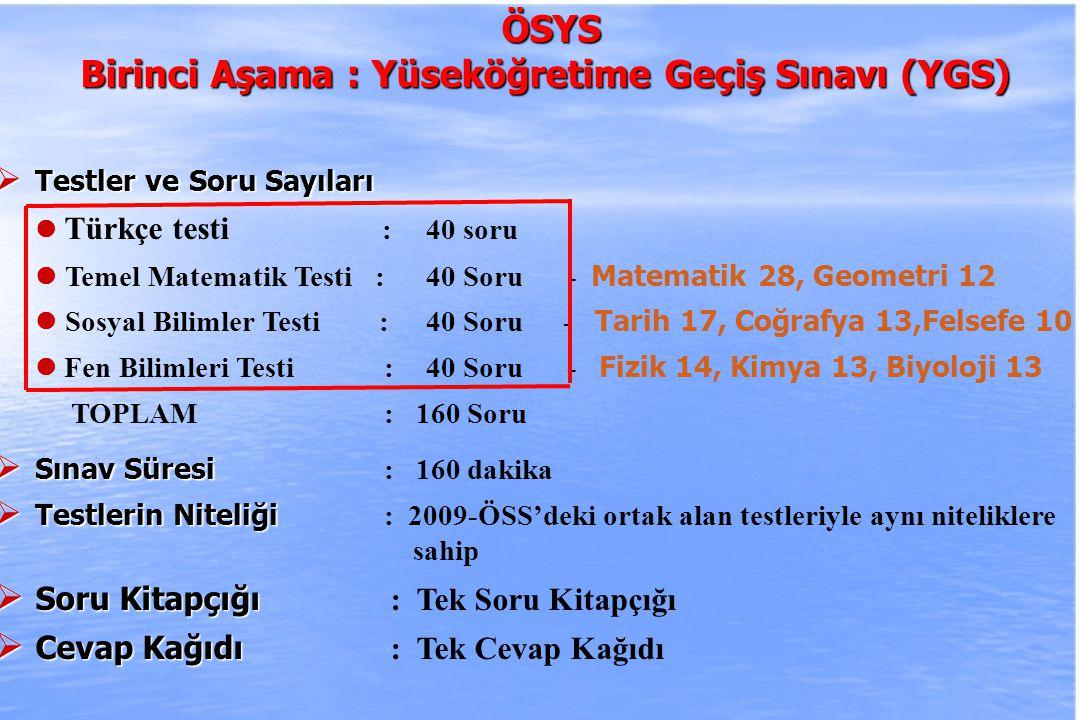 2010-ÖSYS Sunum, İstanbul 29 Ağustos 2009 ÖSYS ÖSYS İkinci Aşama : Lisans Yerleştirme Sınavları (LYS)  Testlerin Niteliği :  Testlerin Niteliği : 2009-ÖSS'deki alan testleri ile aynı niteliklere sahip  Sınavlar, Testler ve Soru Sayıları Matematik testi : 50 Soru, 75 dakika Geometri testi :30 Soru, 45 dakika - Analitik Geometri 8 TOPLAM : 80 Soru, 120 dakika 1) Matematik ve Geometri testleri için ayrı Soru Kitapçıkları kullanılacaktır 2) Cevap Kağıdı iki test için ortak olacaktır.