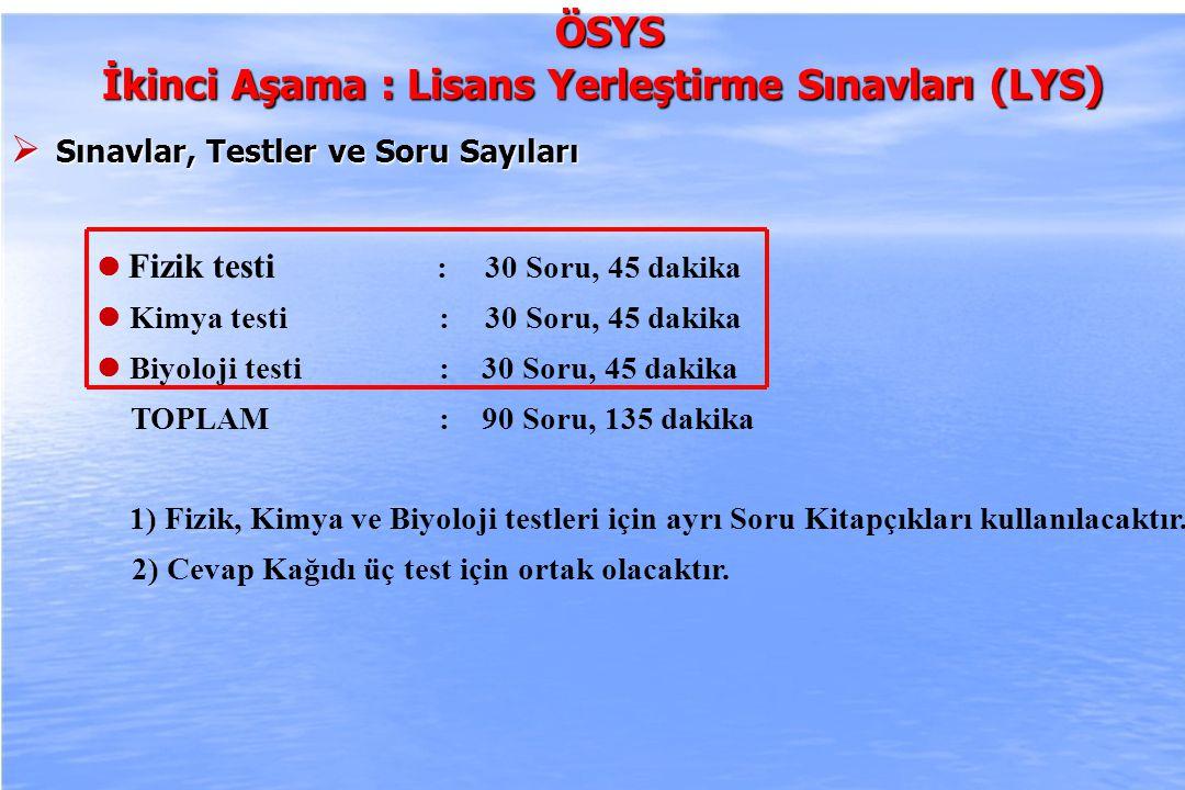 2010-ÖSYS Sunum, İstanbul 29 Ağustos 2009ÖSYS İkinci Aşama : Lisans Yerleştirme Sınavları (LYS)  Sınavlar, Testler ve Soru Sayıları : Türk Dili ve Edebiyatı testi : 56 Soru, 85 dakika Coğrafya-1 testi: 24 Soru, 35 dakika TOPLAM : 80 Soru, 120 dakika 1) Türk Dili ve Edebiyatı testi ile Coğrafya-1 testi için ayrı Soru Kitapçıkları kullanılacaktır.