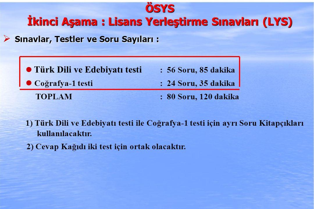 2010-ÖSYS Sunum, İstanbul 29 Ağustos 2009 ÖSYS ÖSYS İkinci Aşama : Lisans Yerleştirme Sınavları (LYS)  Sınavlar, Testler ve Soru Sayıları Tarih testi testi : 44 Soru, 65 dakika Coğrafya-2 testi: 16 Soru, 25 dakika Felsefe Grubu testi: 30 Soru, 45 dakika - Psikoloji 10 - Sosyoloji 10 - Mantık 10 TOPLAM : 90 Soru, 135 dakika 1) Tarih, Coğrafya-2 ve Felsefe Grubu testleri için ayrı Soru Kitapçıkları kullanılacaktır.
