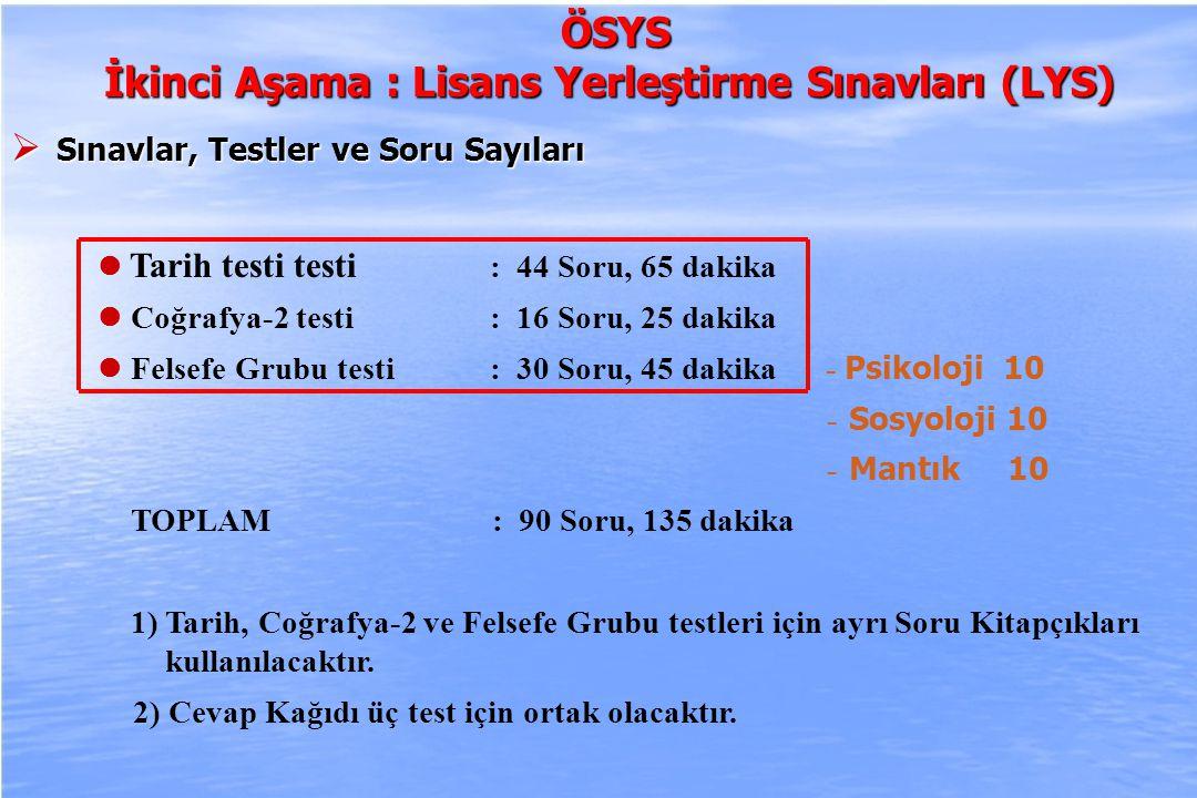 2010-ÖSYS Sunum, İstanbul 29 Ağustos 2009 ÖSYS ÖSYS İkinci Aşama : Lisans Yerleştirme Sınavları (LYS)  Sınavlar, Testler ve Soru Sayıları Yabancı Dil testi : 80 Soru, 120 dakika 1) Yabancı Dil testi İngilizce, Almanca ve Fransızca dillerinde hazırlanacaktır.