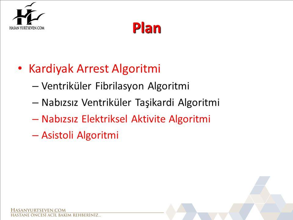 Plan Kardiyak Arrest Algoritmi – Ventriküler Fibrilasyon Algoritmi – Nabızsız Ventriküler Taşikardi Algoritmi – Nabızsız Elektriksel Aktivite Algoritm