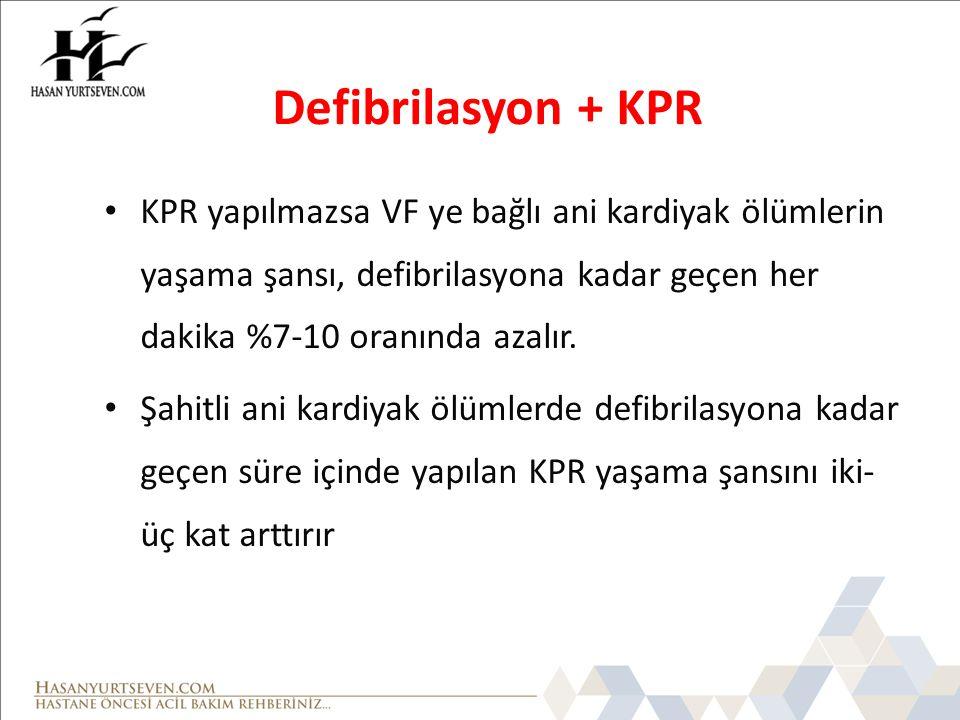 Defibrilasyon + KPR KPR yapılmazsa VF ye bağlı ani kardiyak ölümlerin yaşama şansı, defibrilasyona kadar geçen her dakika %7-10 oranında azalır. Şahit