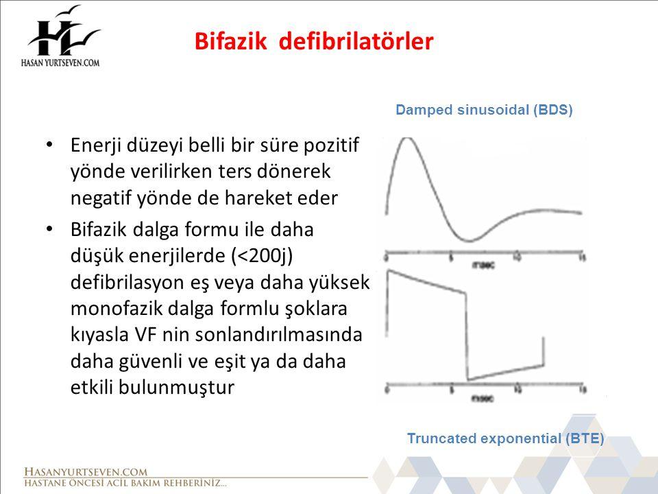 Bifazik defibrilatörler Enerji düzeyi belli bir süre pozitif yönde verilirken ters dönerek negatif yönde de hareket eder Bifazik dalga formu ile daha