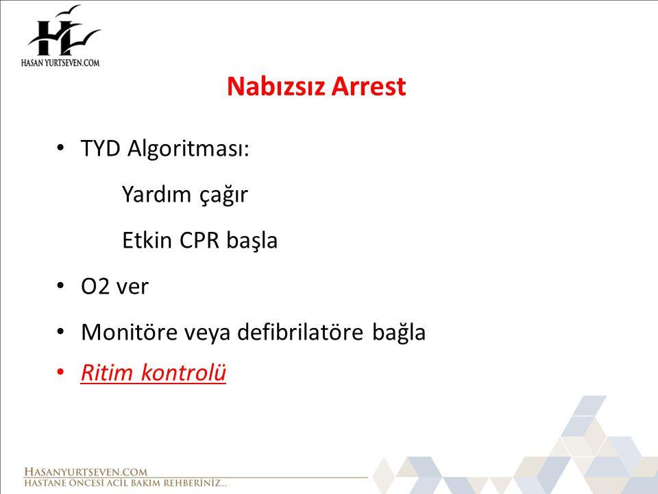 Nabızsız Arrest TYD Algoritması: Yardım çağır Etkin CPR başla O2 ver Monitöre veya defibrilatöre bağla Ritim kontrolü
