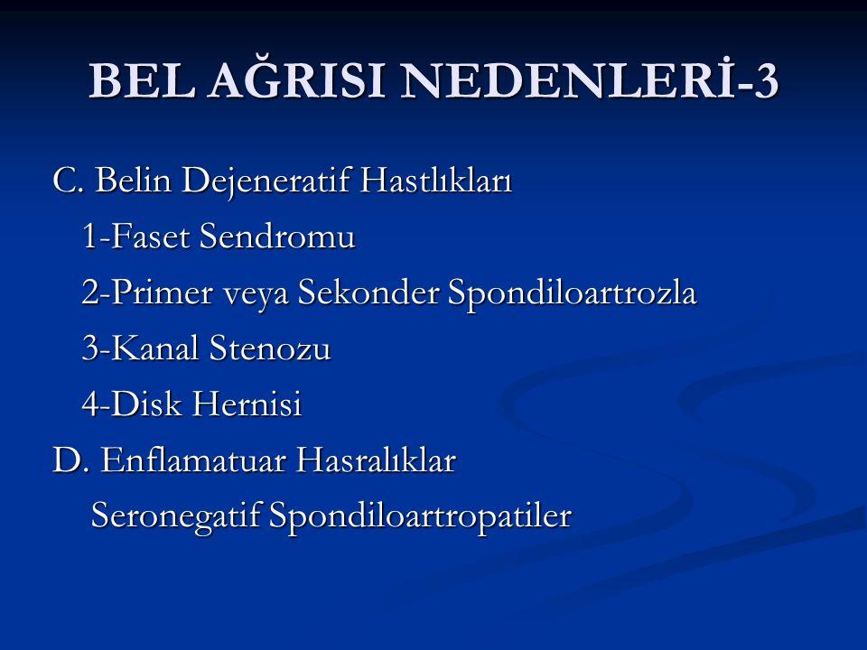 BEL AĞRISI NEDENLERİ-3 C. Belin Dejeneratif Hastlıkları 1-Faset Sendromu 1-Faset Sendromu 2-Primer veya Sekonder Spondiloartrozla 2-Primer veya Sekond