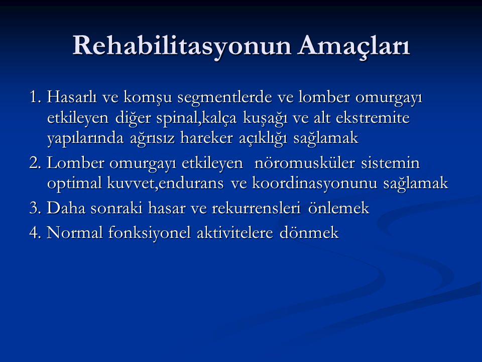 Rehabilitasyonun Amaçları 1. Hasarlı ve komşu segmentlerde ve lomber omurgayı etkileyen diğer spinal,kalça kuşağı ve alt ekstremite yapılarında ağrısı