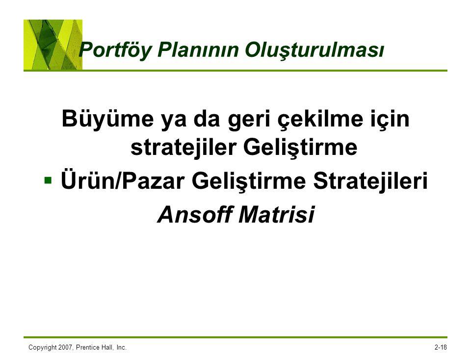 Copyright 2007, Prentice Hall, Inc.2-18 Portföy Planının Oluşturulması Büyüme ya da geri çekilme için stratejiler Geliştirme  Ürün/Pazar Geliştirme S