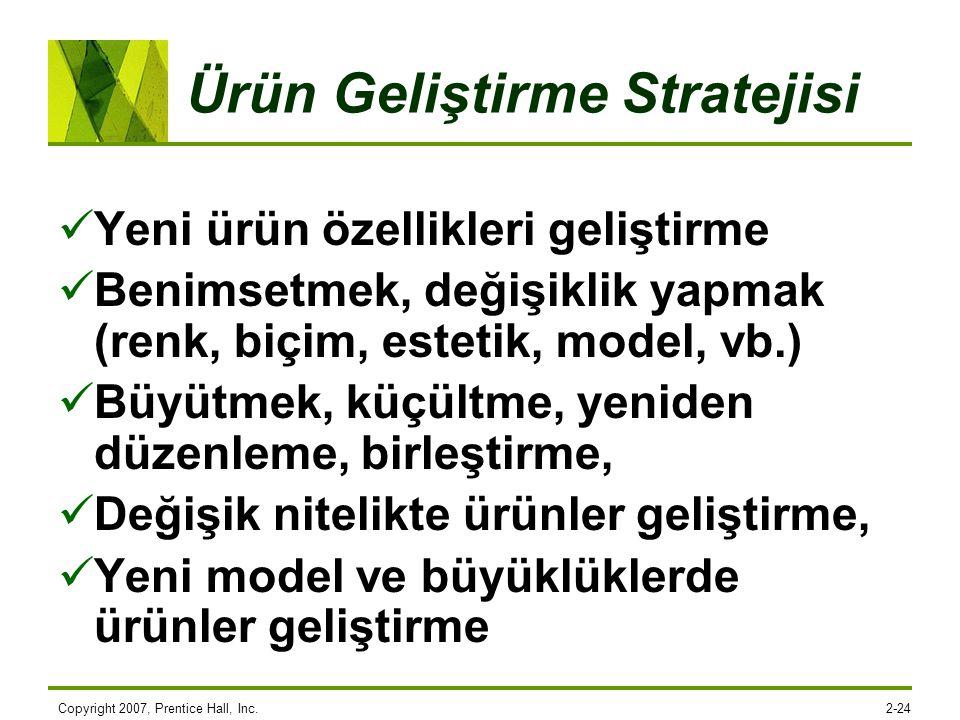 Copyright 2007, Prentice Hall, Inc.2-24 Ürün Geliştirme Stratejisi Yeni ürün özellikleri geliştirme Benimsetmek, değişiklik yapmak (renk, biçim, estet