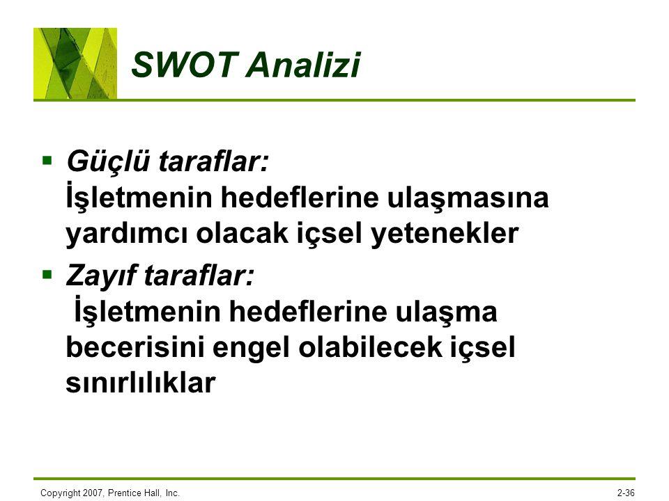 Copyright 2007, Prentice Hall, Inc.2-36 SWOT Analizi  Güçlü taraflar: İşletmenin hedeflerine ulaşmasına yardımcı olacak içsel yetenekler  Zayıf tara