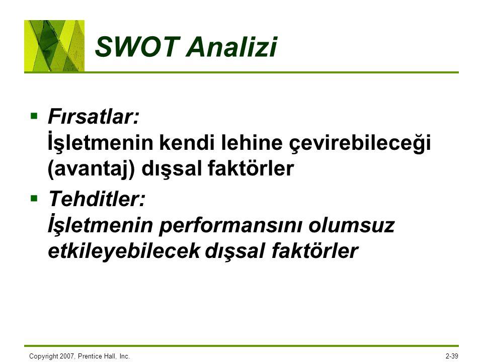 Copyright 2007, Prentice Hall, Inc.2-39 SWOT Analizi  Fırsatlar: İşletmenin kendi lehine çevirebileceği (avantaj) dışsal faktörler  Tehditler: İşlet