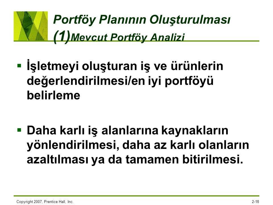 Copyright 2007, Prentice Hall, Inc.2-18 Portföy Planının Oluşturulması (1) Mevcut Portföy Analizi  İşletmeyi oluşturan iş ve ürünlerin değerlendirilm