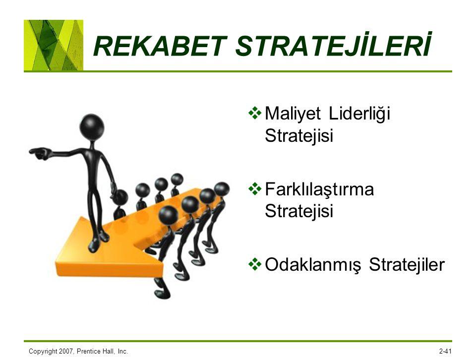 Copyright 2007, Prentice Hall, Inc.2-41 REKABET STRATEJİLERİ  Maliyet Liderliği Stratejisi  Farklılaştırma Stratejisi  Odaklanmış Stratejiler