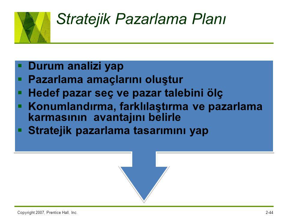 Copyright 2007, Prentice Hall, Inc.2-44 Stratejik Pazarlama Planı  Durum analizi yap  Pazarlama amaçlarını oluştur  Hedef pazar seç ve pazar talebi