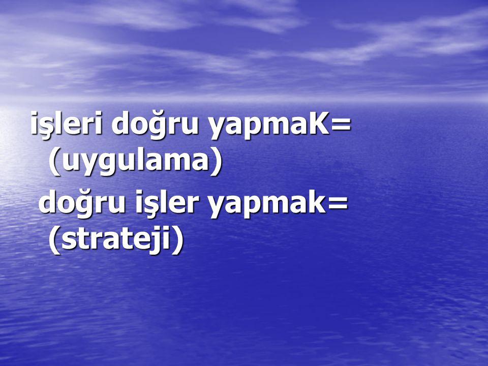 işleri doğru yapmaK= (uygulama) doğru işler yapmak= (strateji) doğru işler yapmak= (strateji)