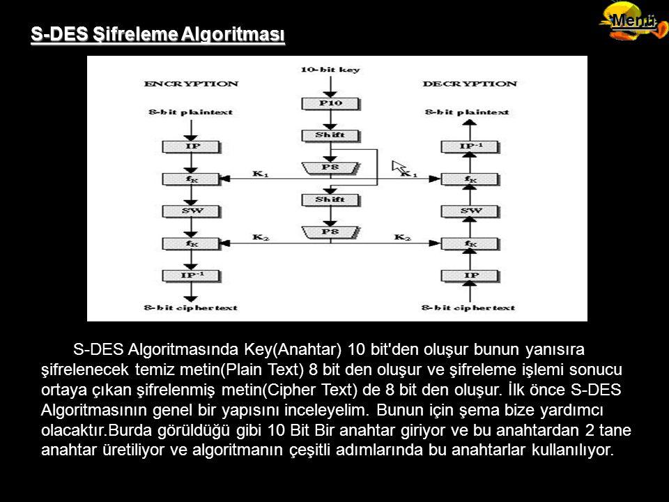 S-DES Şifreleme Algoritması S-DES Algoritmasında Key(Anahtar) 10 bit'den oluşur bunun yanısıra şifrelenecek temiz metin(Plain Text) 8 bit den oluşur v