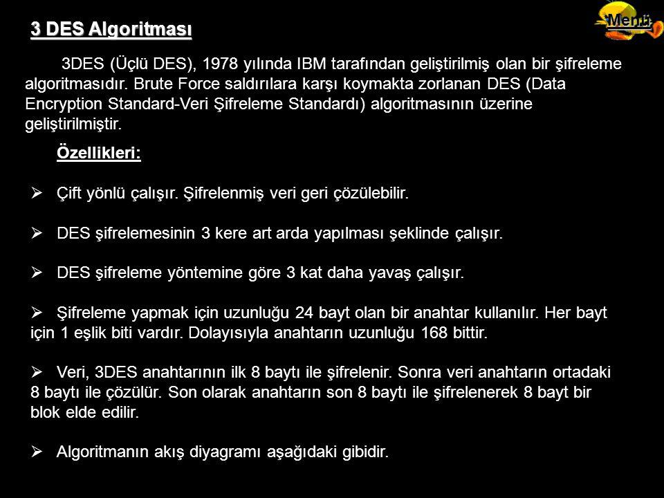 3 DES Algoritması 3DES (Üçlü DES), 1978 yılında IBM tarafından geliştirilmiş olan bir şifreleme algoritmasıdır. Brute Force saldırılara karşı koymakta