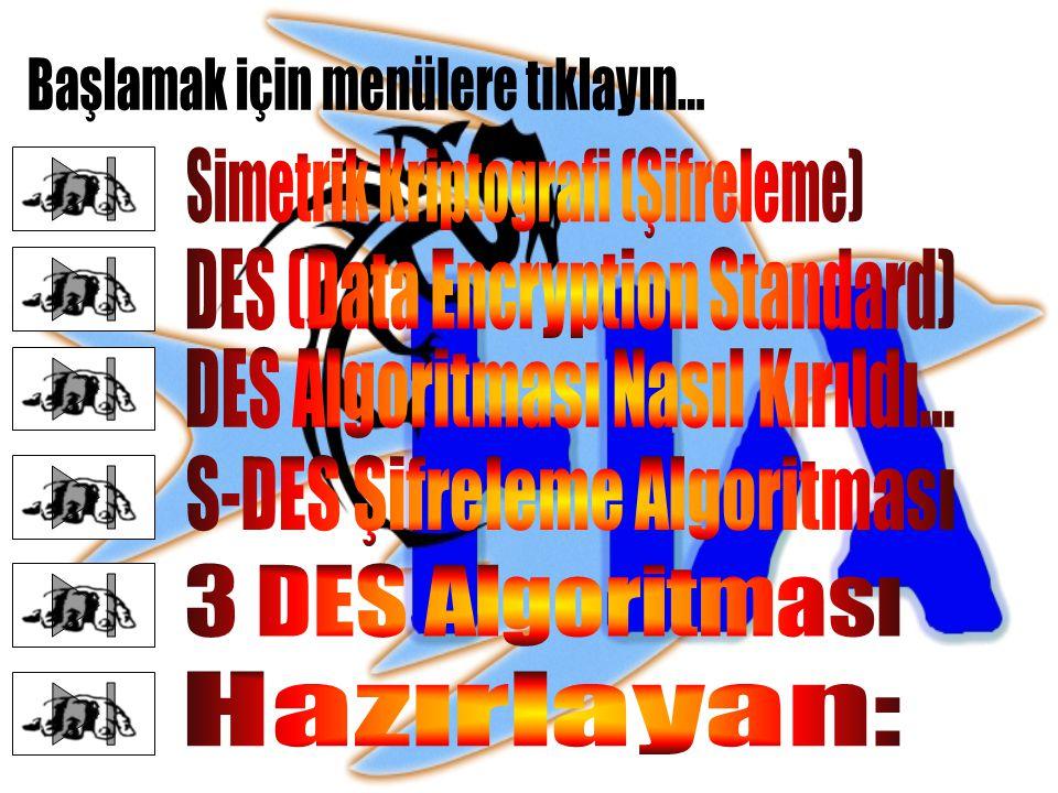 Simetrik Kriptografi (Şifreleme) Simetrik kriptografide, şifreleme ve şifre açma işlemi aynı anahtar ile yapılır.