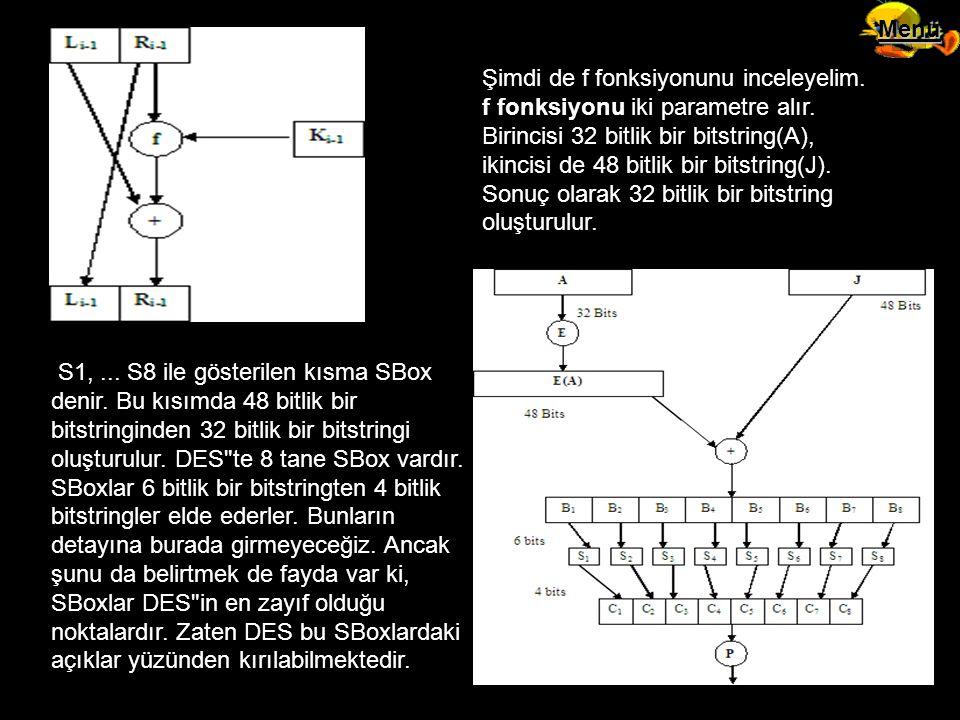 Şimdi de f fonksiyonunu inceleyelim. f fonksiyonu iki parametre alır. Birincisi 32 bitlik bir bitstring(A), ikincisi de 48 bitlik bir bitstring(J). So