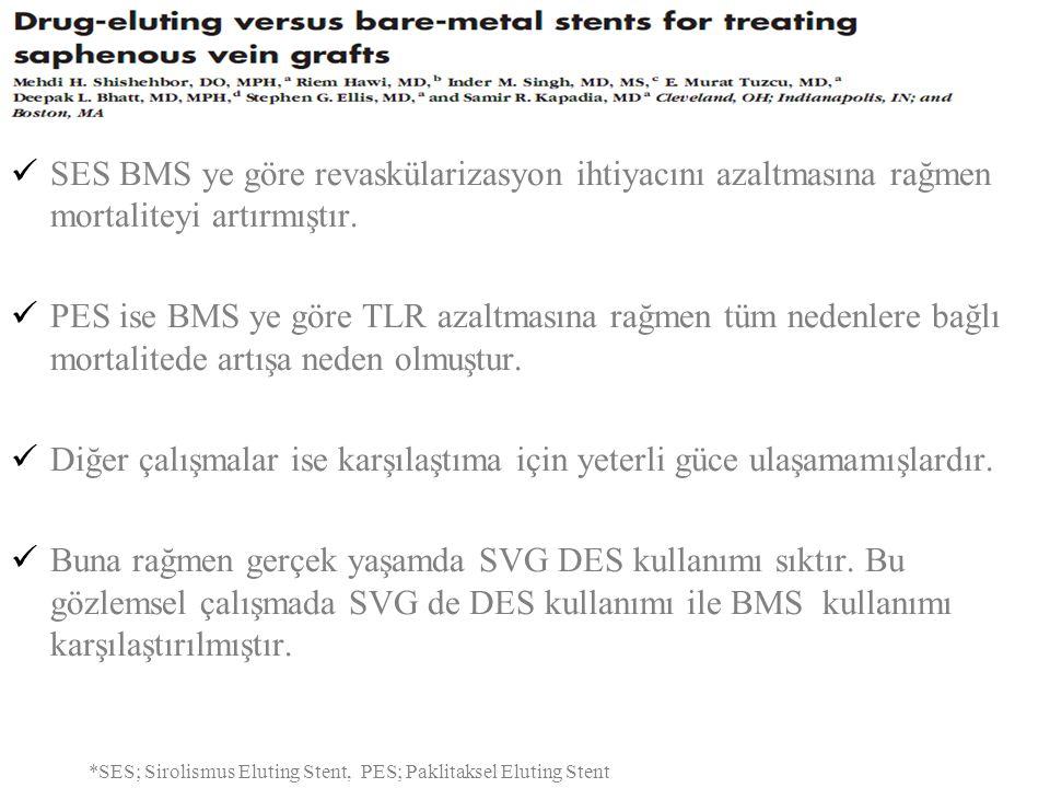 SES BMS ye göre revaskülarizasyon ihtiyacını azaltmasına rağmen mortaliteyi artırmıştır. PES ise BMS ye göre TLR azaltmasına rağmen tüm nedenlere bağl