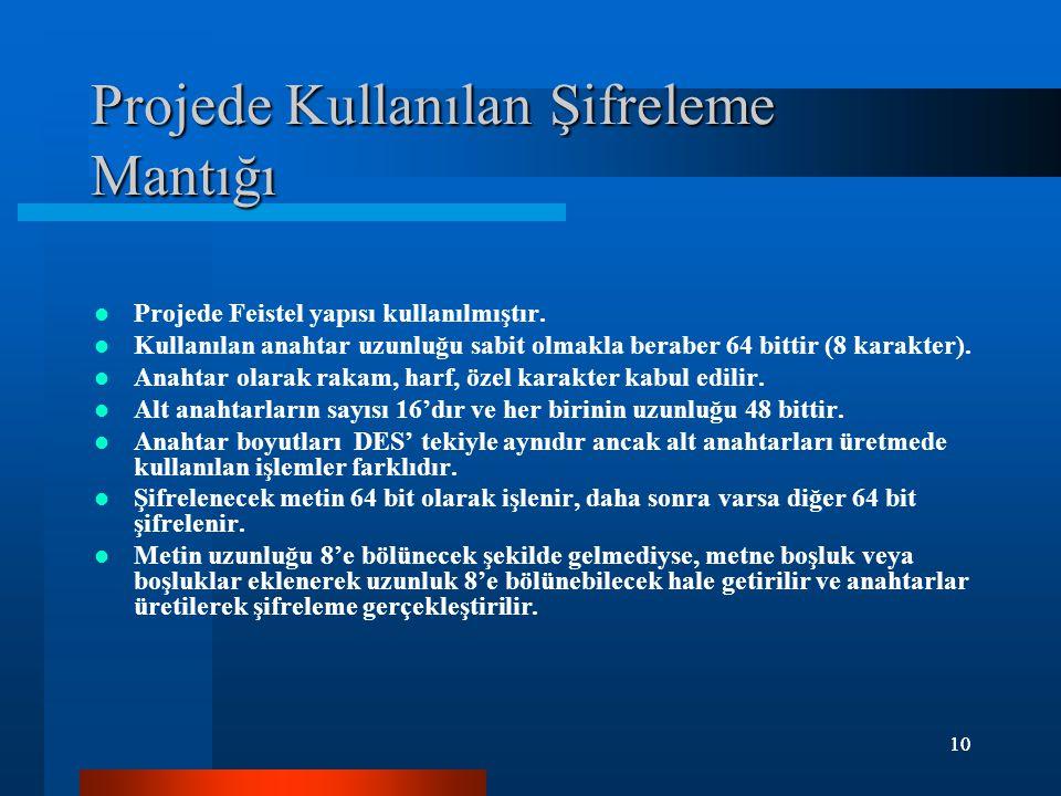 10 Projede Kullanılan Şifreleme Mantığı Projede Feistel yapısı kullanılmıştır. Kullanılan anahtar uzunluğu sabit olmakla beraber 64 bittir (8 karakter