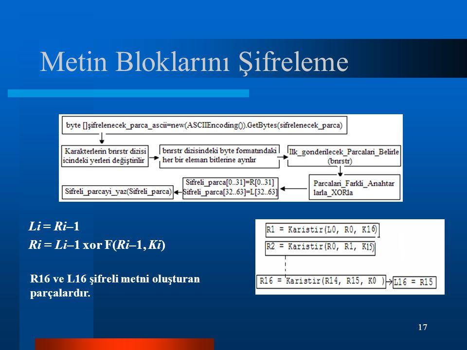 17 Metin Bloklarını Şifreleme Li = Ri–1 Ri = Li–1 xor F(Ri–1, Ki) R16 ve L16 şifreli metni oluşturan parçalardır.