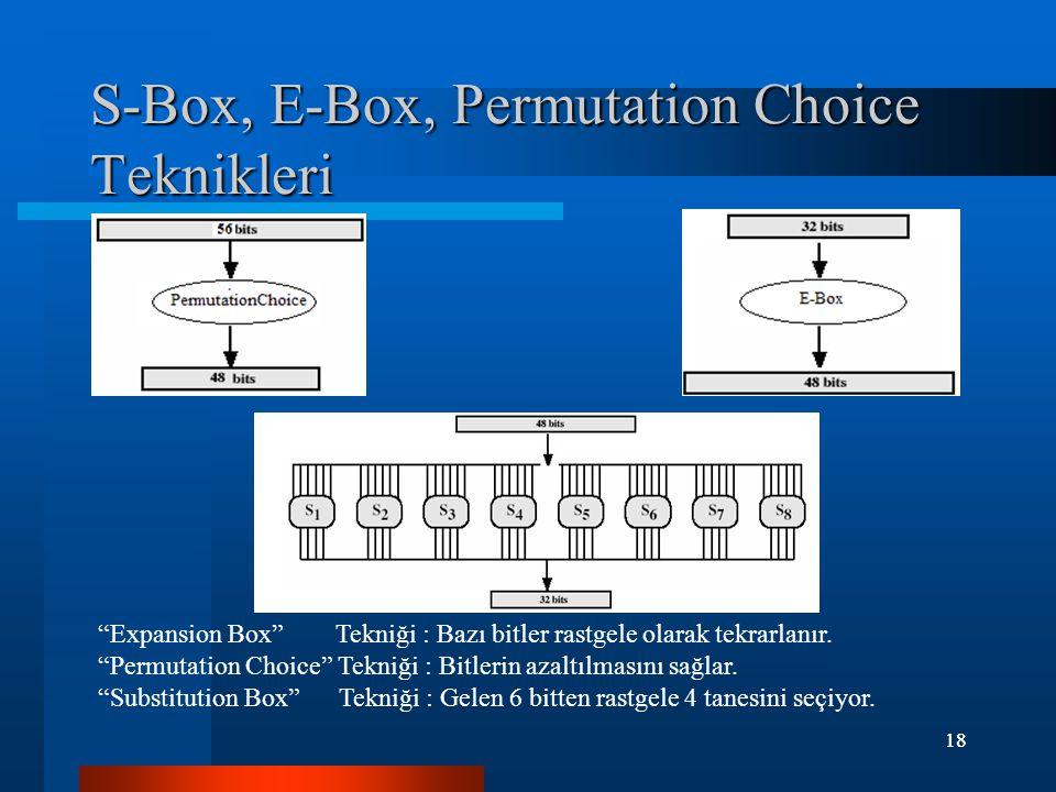 18 S-Box, E-Box, Permutation Choice Teknikleri Expansion Box Tekniği : Bazı bitler rastgele olarak tekrarlanır.