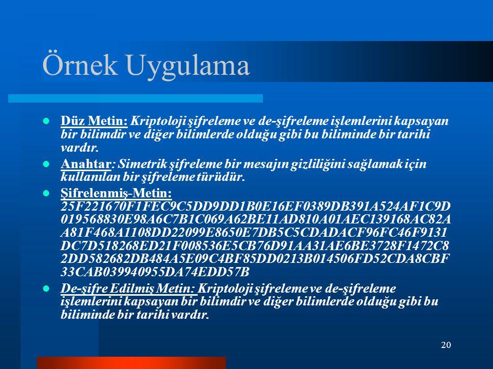 20 Örnek Uygulama Düz Metin: Kriptoloji şifreleme ve de-şifreleme işlemlerini kapsayan bir bilimdir ve diğer bilimlerde olduğu gibi bu biliminde bir tarihi vardır.