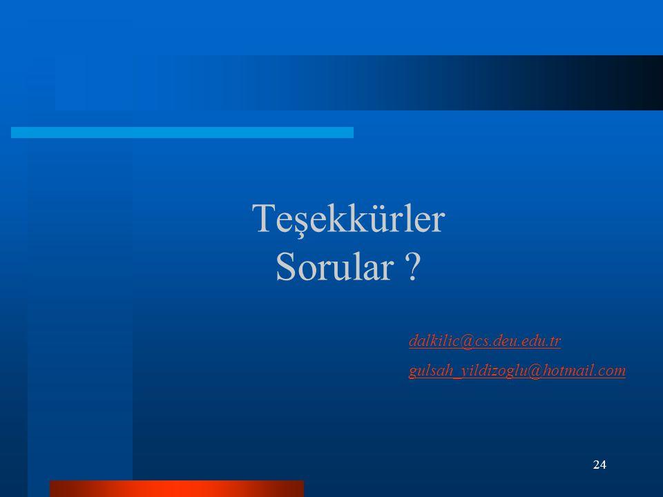 24 Teşekkürler Sorular ? dalkilic@cs.deu.edu.tr gulsah_yildizoglu@hotmail.com