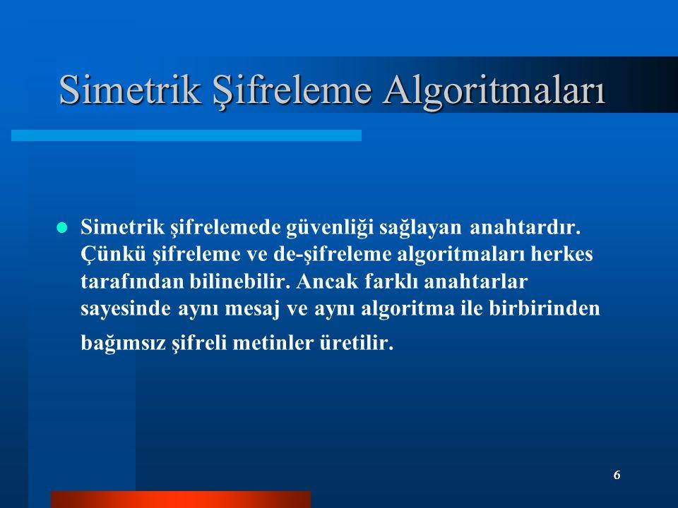 6 6 Simetrik Şifreleme Algoritmaları Simetrik şifrelemede güvenliği sağlayan anahtardır. Çünkü şifreleme ve de-şifreleme algoritmaları herkes tarafınd
