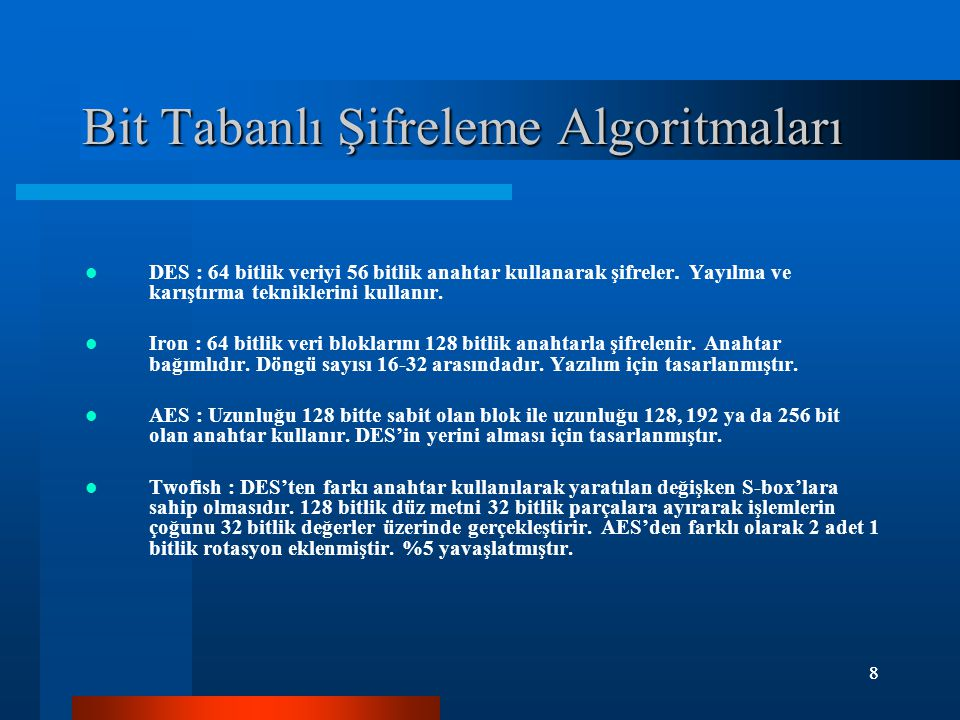 8 8 Bit Tabanlı Şifreleme Algoritmaları DES : 64 bitlik veriyi 56 bitlik anahtar kullanarak şifreler.