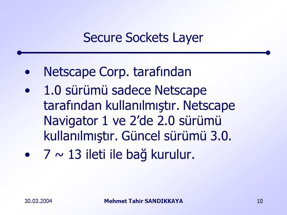 30.03.2004Mehmet Tahir SANDIKKAYA10 Secure Sockets Layer Netscape Corp.