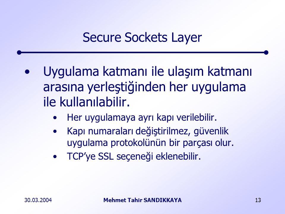 30.03.2004Mehmet Tahir SANDIKKAYA13 Secure Sockets Layer Uygulama katmanı ile ulaşım katmanı arasına yerleştiğinden her uygulama ile kullanılabilir.