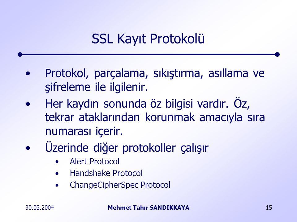 30.03.2004Mehmet Tahir SANDIKKAYA15 SSL Kayıt Protokolü Protokol, parçalama, sıkıştırma, asıllama ve şifreleme ile ilgilenir.