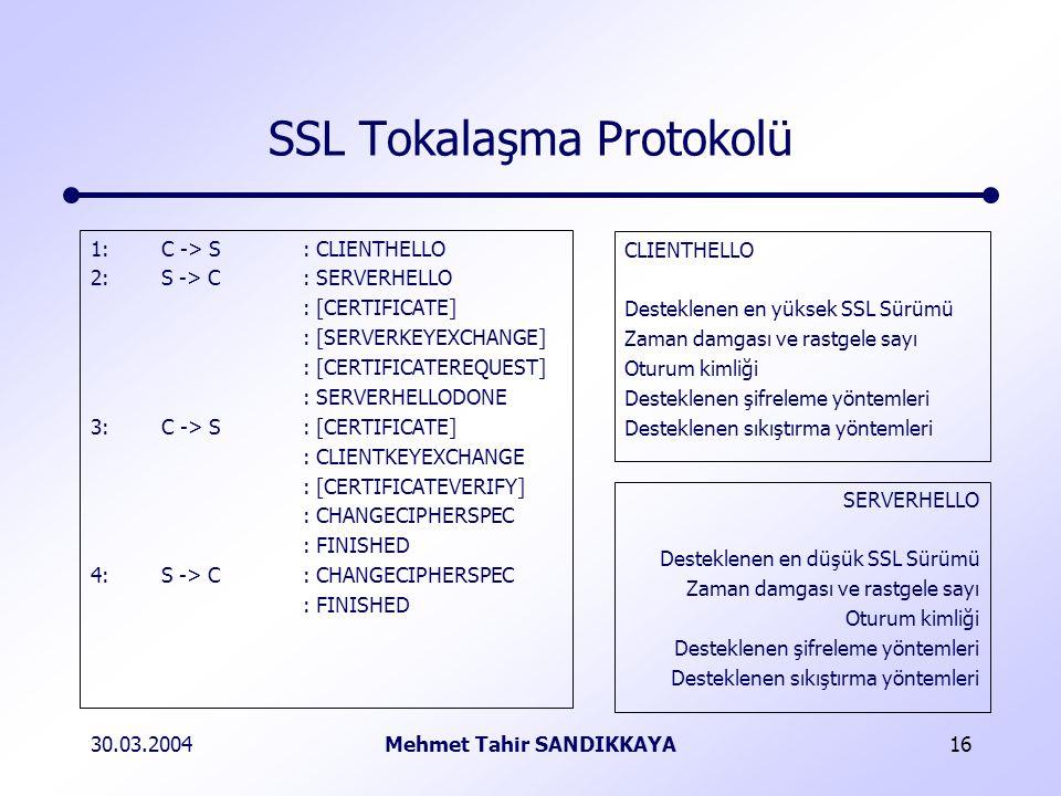 30.03.2004Mehmet Tahir SANDIKKAYA16 SSL Tokalaşma Protokolü 1:C -> S: CLIENTHELLO 2:S -> C: SERVERHELLO : [CERTIFICATE] : [SERVERKEYEXCHANGE] : [CERTIFICATEREQUEST] : SERVERHELLODONE 3:C -> S: [CERTIFICATE] : CLIENTKEYEXCHANGE : [CERTIFICATEVERIFY] : CHANGECIPHERSPEC : FINISHED 4:S -> C: CHANGECIPHERSPEC : FINISHED CLIENTHELLO Desteklenen en yüksek SSL Sürümü Zaman damgası ve rastgele sayı Oturum kimliği Desteklenen şifreleme yöntemleri Desteklenen sıkıştırma yöntemleri SERVERHELLO Desteklenen en düşük SSL Sürümü Zaman damgası ve rastgele sayı Oturum kimliği Desteklenen şifreleme yöntemleri Desteklenen sıkıştırma yöntemleri