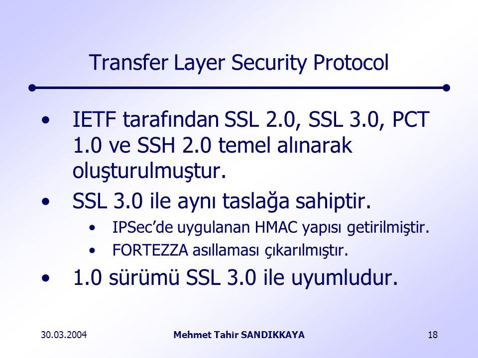 30.03.2004Mehmet Tahir SANDIKKAYA18 Transfer Layer Security Protocol IETF tarafından SSL 2.0, SSL 3.0, PCT 1.0 ve SSH 2.0 temel alınarak oluşturulmuştur.