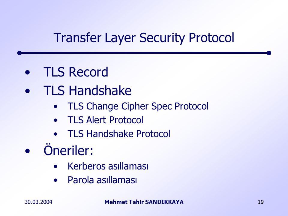30.03.2004Mehmet Tahir SANDIKKAYA19 Transfer Layer Security Protocol TLS Record TLS Handshake TLS Change Cipher Spec Protocol TLS Alert Protocol TLS Handshake Protocol Öneriler: Kerberos asıllaması Parola asıllaması