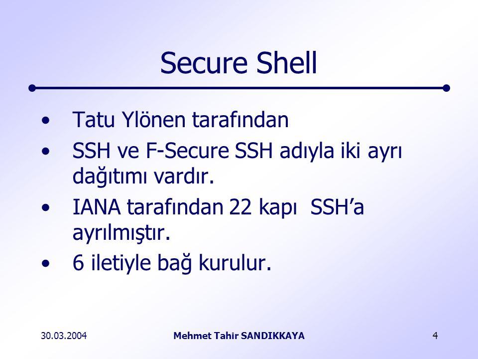 30.03.2004Mehmet Tahir SANDIKKAYA4 Secure Shell Tatu Ylönen tarafından SSH ve F-Secure SSH adıyla iki ayrı dağıtımı vardır.
