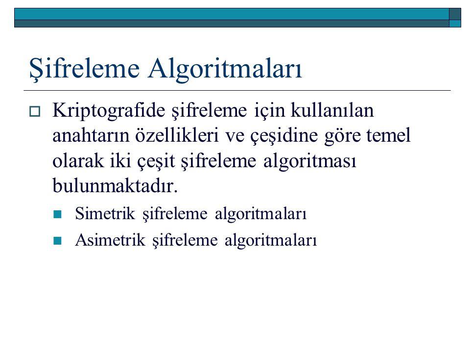 Şifreleme Algoritmaları  Kriptografide şifreleme için kullanılan anahtarın özellikleri ve çeşidine göre temel olarak iki çeşit şifreleme algoritması