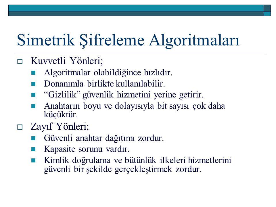 """ Kuvvetli Yönleri; Algoritmalar olabildiğince hızlıdır. Donanımla birlikte kullanılabilir. """"Gizlilik"""" güvenlik hizmetini yerine getirir. Anahtarın bo"""