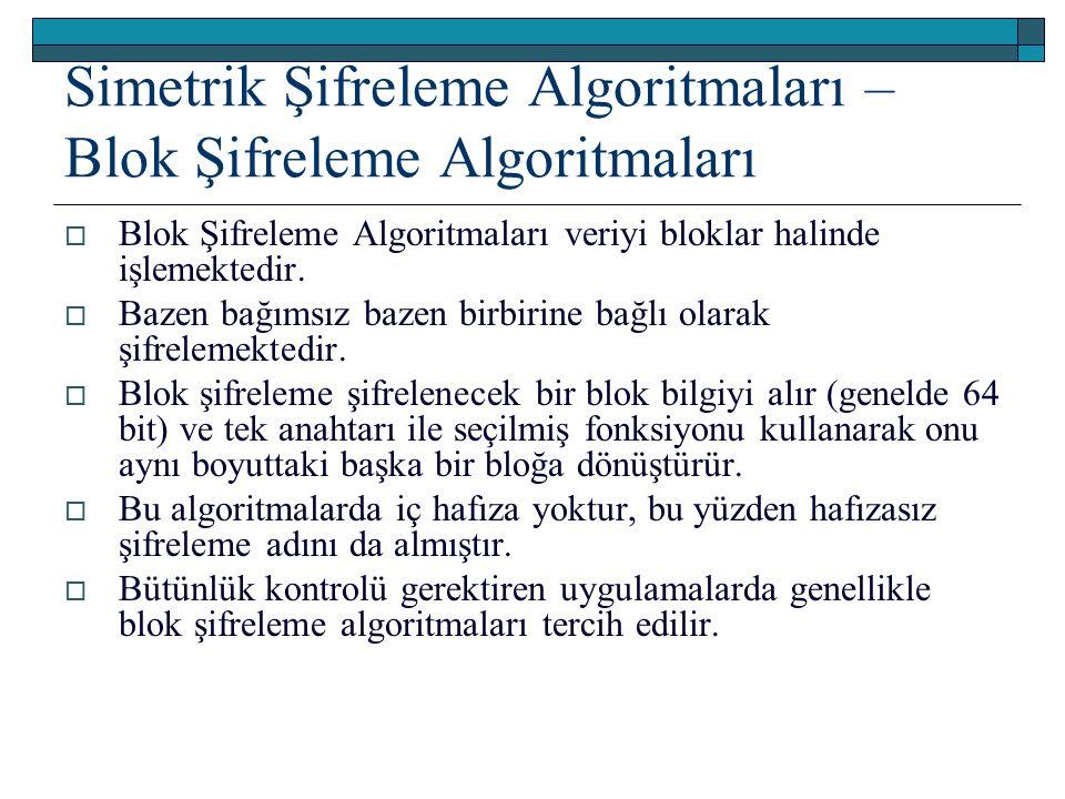 Simetrik Şifreleme Algoritmaları – Blok Şifreleme Algoritmaları  Blok Şifreleme Algoritmaları veriyi bloklar halinde işlemektedir.  Bazen bağımsız b