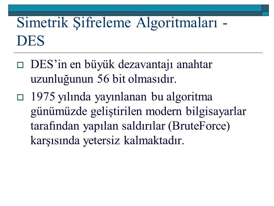 Simetrik Şifreleme Algoritmaları - DES  DES'in en büyük dezavantajı anahtar uzunluğunun 56 bit olmasıdır.  1975 yılında yayınlanan bu algoritma günü