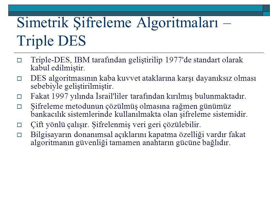 Simetrik Şifreleme Algoritmaları – Triple DES  Triple-DES, IBM tarafından geliştirilip 1977'de standart olarak kabul edilmiştir.  DES algoritmasının