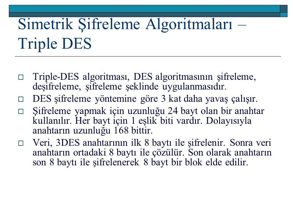 Simetrik Şifreleme Algoritmaları – Triple DES  Triple-DES algoritması, DES algoritmasının şifreleme, deşifreleme, şifreleme şeklinde uygulanmasıdır.