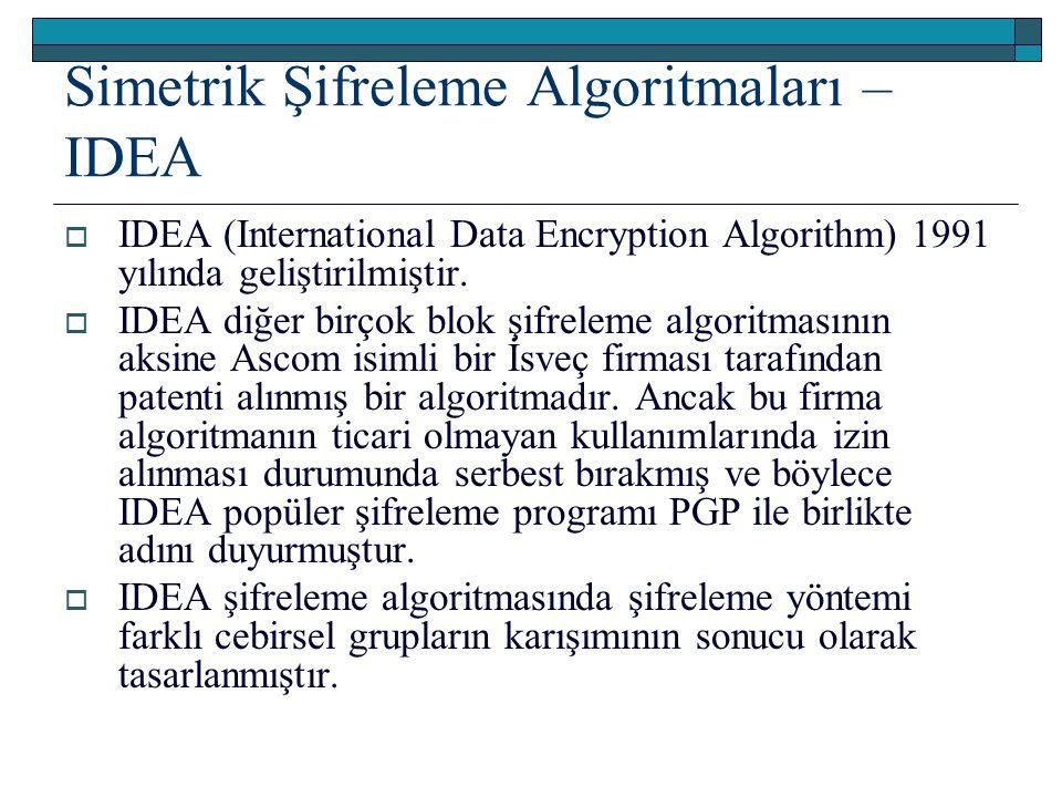 Simetrik Şifreleme Algoritmaları – IDEA  IDEA (International Data Encryption Algorithm) 1991 yılında geliştirilmiştir.  IDEA diğer birçok blok şifre